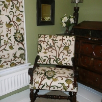 17th century chair in Coromandel's Lochlorien fabric - with kind permission of Brigitte Webster, owner of an exclusive 16th/17th century experience guesthouse,  Albury, Hertfordshire