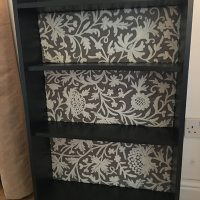 Upcycled 1950s bookcase using Inigo Slate Grey crewel