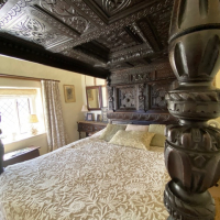 The Great Chamber, Old Hall, Burnham Broom. The bed is dated 1675. Reproduced with kind permission of Brigitte Webster