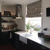 Kitchen blind made from Inigo Slate Grey crewel