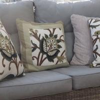 Cushions in Lochlorian embroidered crewel work: Sarah Addis