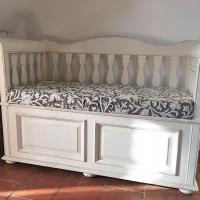 Kitchen seating made from Inigo Slate Grey crewel